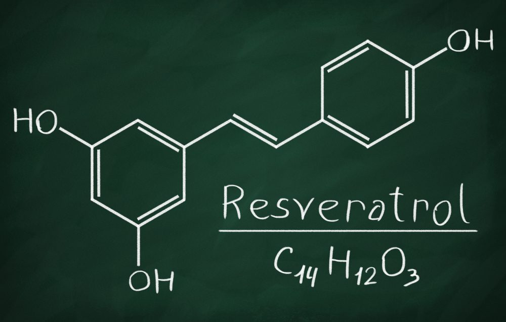 Chemical formula of Resveratrol on a blackboard