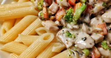 Chicken and Vegetables in Alfredo Sauce